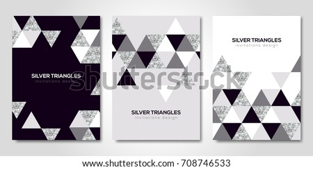 Banners set with silver geometric patterns. Vector illustration. Flyer design layout templates for wedding cards, business brochure design, certificates. Silver triangles decor