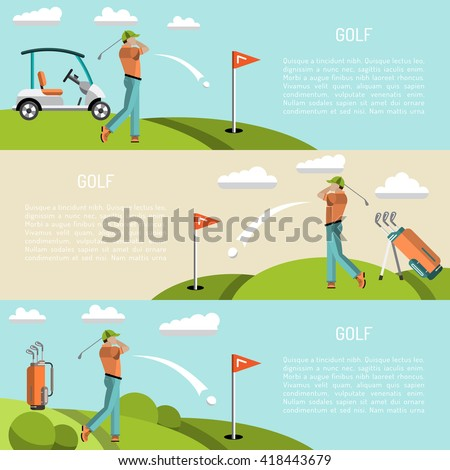 Banners vector image of sports equipment for Golf, such as Golf bag, putter, golfer, ball, hole, Golf course. The golfer will hit the ball towards the hole.