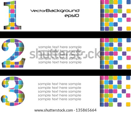banners, web design, abstract background, labels with number, colorful - stock vector