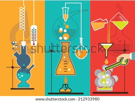 Banners with Chemistry laboratory infographic flat elements vector illustration. - stock vector