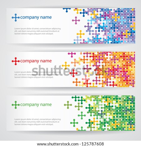 Banners with colorful pattern - stock vector