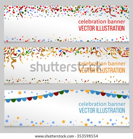 Banners with confetti for event birthday festive christmas, new year, vector illustration - stock vector