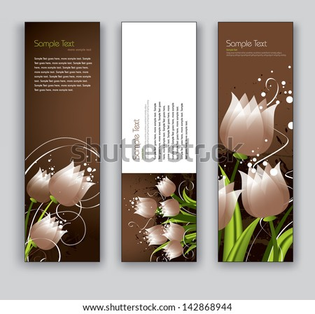 Banners With Flowers. Vector Backgrounds. - stock vector