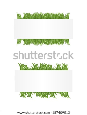 Banners with green grass, vector