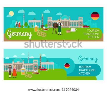 Banners with landmarks of Germany - stock vector