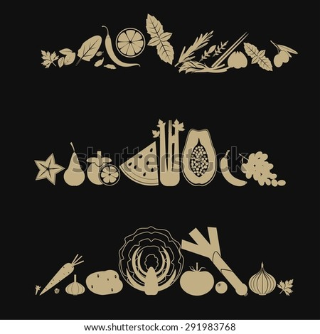 Banners with silhouettes of fruits, vegetables and herbs in pale brown color on black background. - stock vector