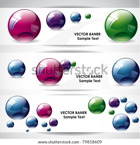 Banners with spheres - stock vector