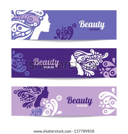 Banners with stylish beautiful woman silhouette. Template design cards - stock vector