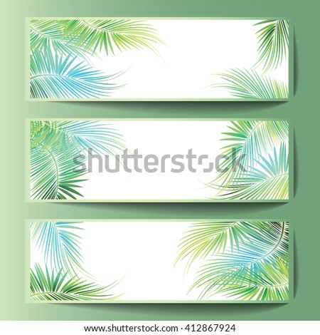 Banners with the palm tree branches. Vector illustration. - stock vector