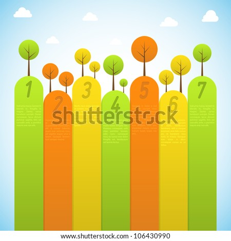 Banners with trees. Vector illustration. - stock vector