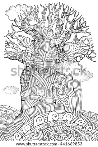 Baobab Tree African Tree Coloring Book Stock Vector (Royalty Free ...