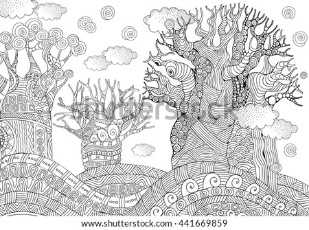 Baobab Tree African Coloring Book Page For Adult And Children Zentangle Style