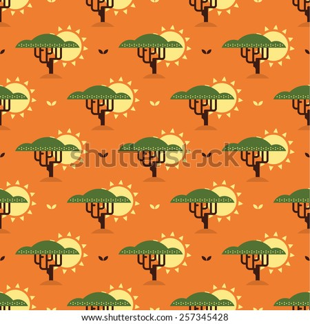 baobab tree and sun pattern - stock vector