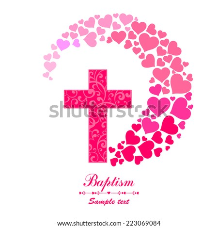 Baptism Card Design. Cross isolated on White background. Christian Symbol. Vector illustration  - stock vector
