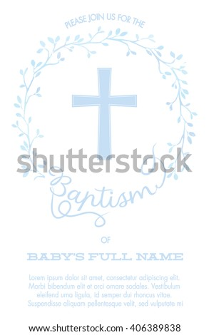 Baptism, Christening Invitation with Cross and Watercolor Floral Wreath - White Background - stock vector