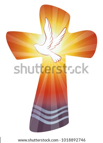 Baptism Christian Cross Water Waves Dove Stock Vector 1018892746