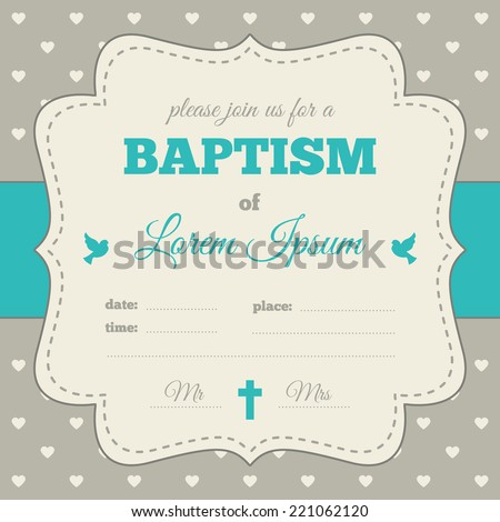 baptism invitation template blue gray cream stock vector 221062120