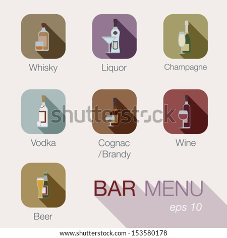 Bar alcohol drinks vector icons menu design template. Cafe beverages concept. Button collection for web and apps. Contains: whisky, liquor, champagne, vodka, cognac, brandy, wine, whiskey, beer. - stock vector