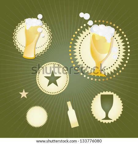 Bar and beer icons ( labels and concepts). Vector Illustration