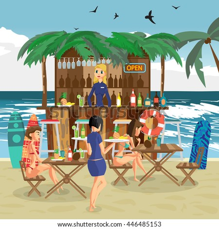 Bar bungalows with bartender woman, waitress with salvers and two visitor women in a bikini on the beach ocean coast. Vector flat cartoon illustration.