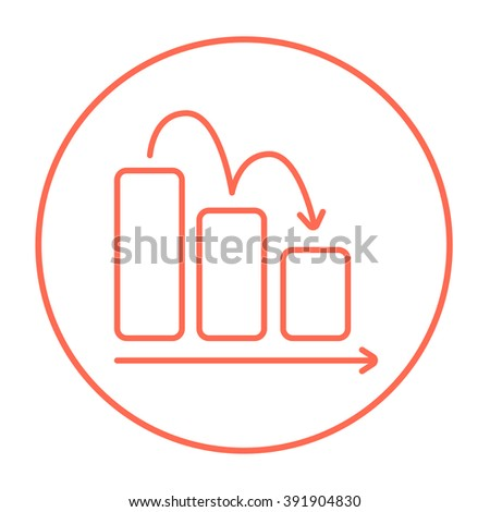 Bar chart down line icon. - stock vector