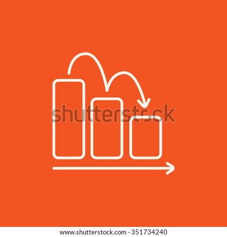 Bar chart going down line icon for web, mobile and infographics. Vector white icon isolated on red background. - stock vector
