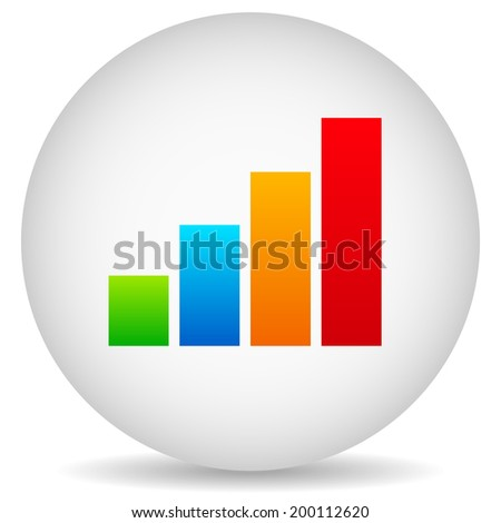 Bar chart in sphere icon