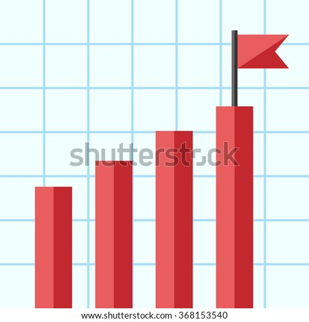 Bar Chart Flag On Top One Stock Vector    Shutterstock