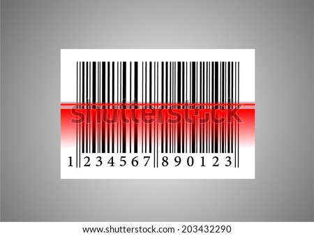 Bar code icon with red laser beam. Bar code reader. vector art image illustration, isolated on white background, eps10