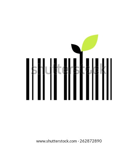 Bar code icon with two small leaves. Vector. - stock vector