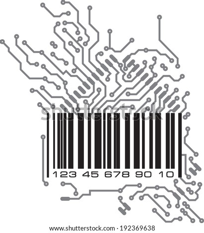 Bar code in PCB-layout style. Vector illustration.  - stock vector