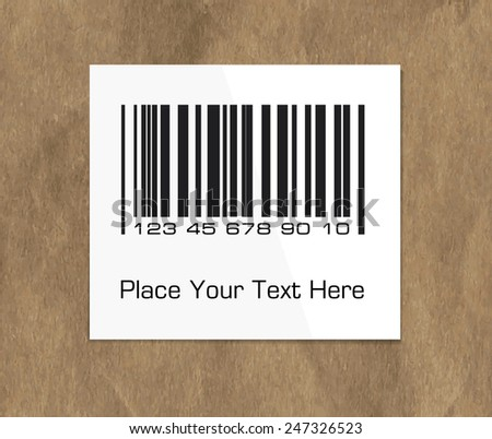 Bar code label on a dark packing paper