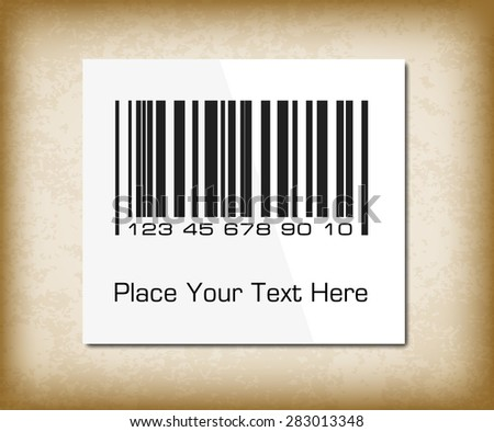 Bar code label on a dark packing paper. Vector illustration for your design.