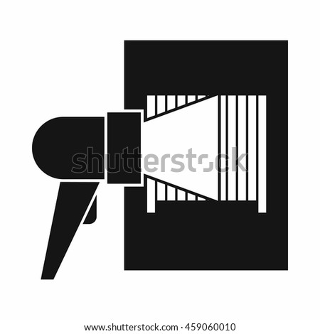 Bar code on cargo icon in simple style isolated on white background. Equipment symbol - stock vector