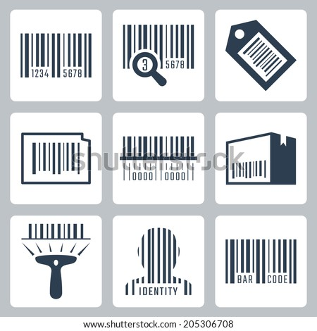 Bar code related vector icons set - stock vector
