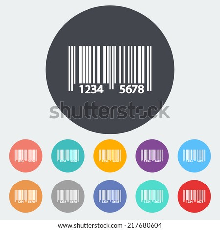 Bar code. Single flat icon on the circle. Vector illustration. - stock vector