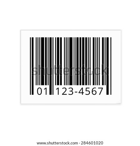 Bar code white sticker with shadows. Vector illustration isolated - stock vector