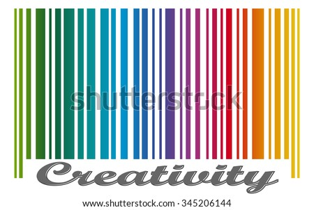 bar code with colored gradient and text CREATIVITY