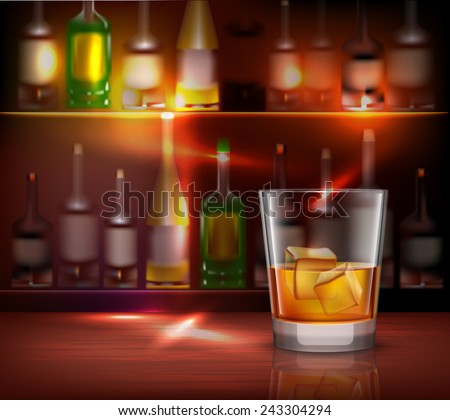 Bar counter realistic background with glass of whiskey in front vector illustration - stock vector