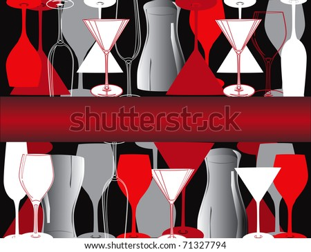 Bar decoration with dishes and glasses - stock vector