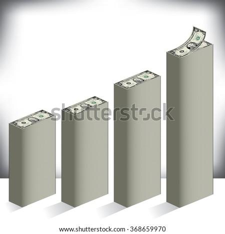 Bar graph made of dollar bills  - stock vector