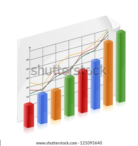 Bar graph represents a person growing wealth and success - stock vector