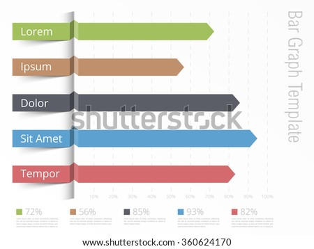 Bar graph template, horizontal bars showing different value of percents on the graph, business infographics template, vector eps10 illustration - stock vector