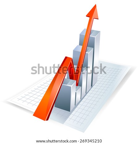 Bar graph with growth arrow.