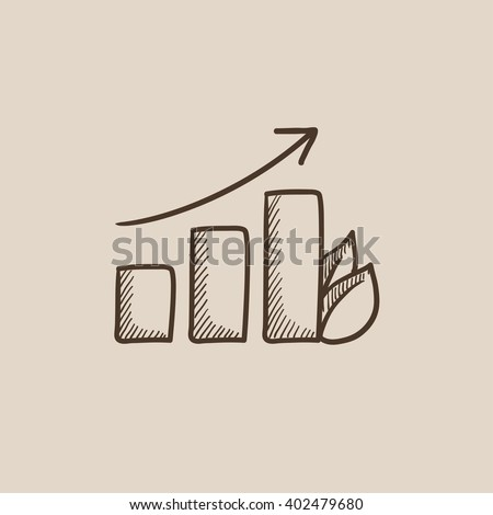 Bar graph with leaf sketch icon. - stock vector