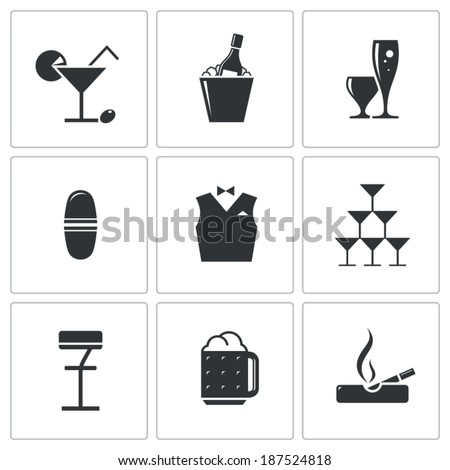 Bar icons set on white background - stock vector