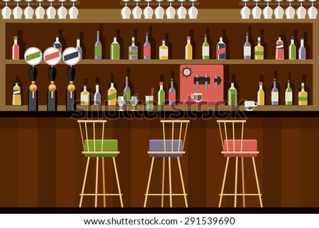 Bar interior in flat style design. Beverage alcohol, beer and club, Vector illustration - stock vector