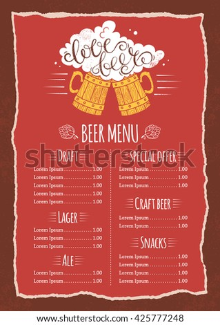 Bar Menu Template Love Beer Vector Stock Vector 425777248