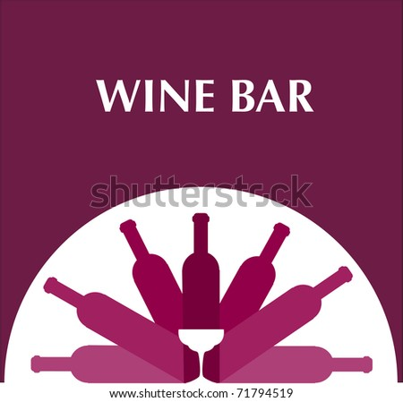 bar menu template with bottles and wine glasses , on pink background - stock vector