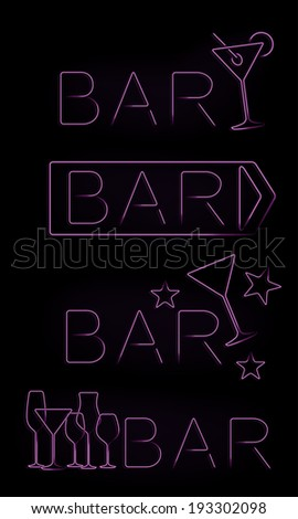 Bar neon signs set - stock vector